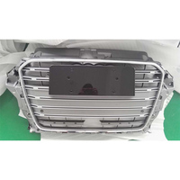 A3 S3 Style Chrome Frame Grey with Chrome 4 Ring Front Bumper Mesh Grill Guard For Audi A3 RS3 S3 2014 2016