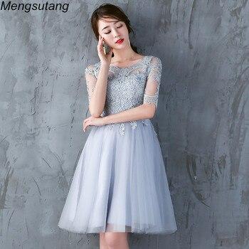 Robe de soiree Gery Lace Banquet Dresses Chinese Vintage Evening dresses Elegant Short Vestidos de festa Party Prom Dresses