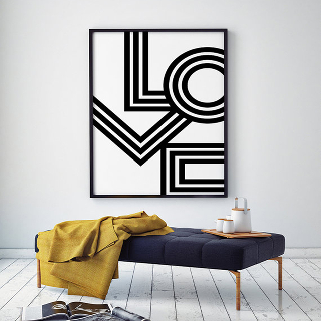 Awesome LOVE Wall Art, Minimalist Print Geometric Love Poster Modern Canvas Art  Painting Wall Pictures For