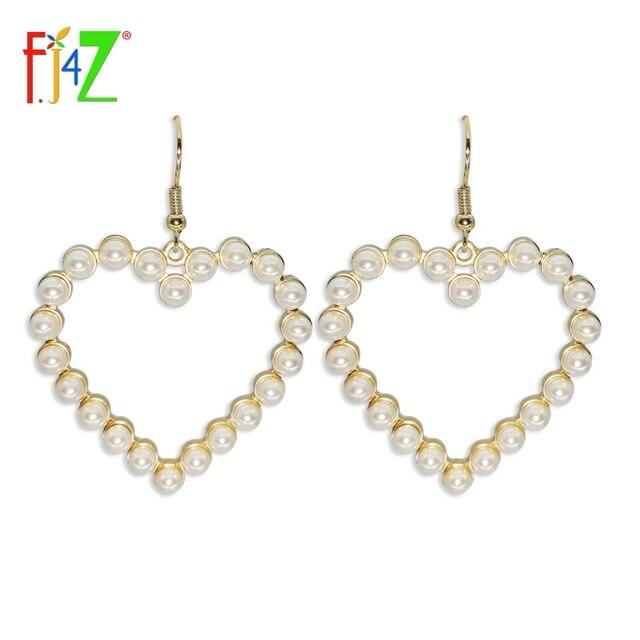 F J4z Elegant Pearl Heart Earrings Designer Beautiful White Faux Star Pendant Women S Drop