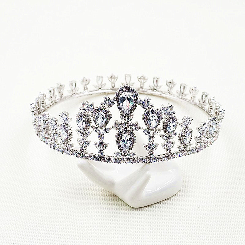 цена Paved CZ Full Crown Tiaras Cubic Zircon Tiara Diadema Wedding Hair Accessories Bride Hair Jewelry Bijoux Cheveux Coroa WIGO1072