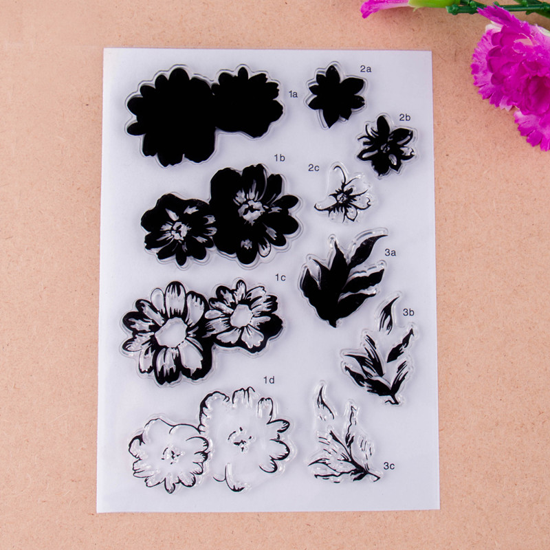 Flowers and leaves Scrapbook DIY photo cards account rubber stamp clear stamp finished transparent chapter 11*16 scrapbook diy photo cards account rubber stamp clear stamp transparent stamp handmade card stamp classical flower background