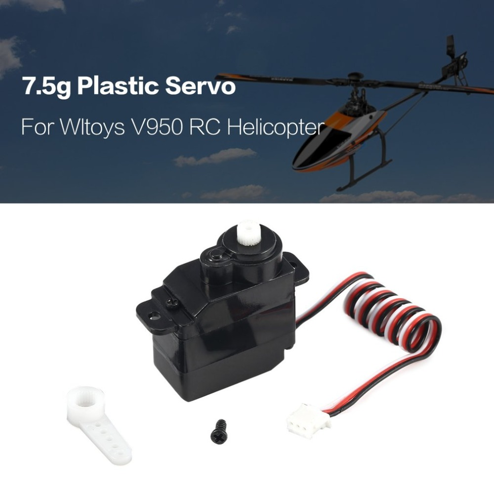 7.5g Plastic Gear Analog RC Servo 4.8-6V for Wltoys V950 RC Helicopter Airplane Part Replacement Accessaries image