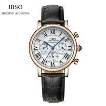 IBSO Marca Manera de Las Mujeres de Cuero Genuino Reloj Cronógrafo de Lujo de Señora reloj de Cuarzo Analógico Reloj Ocasional IB04