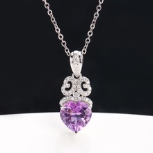 gemstone jewelry wholesale luxury classic 925sterling silver purple crystal amethyst heart charm pendant necklace