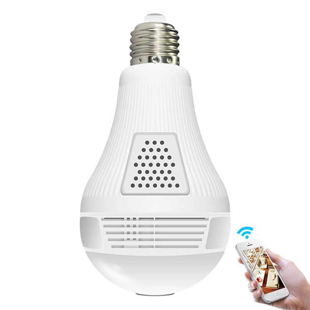 Wireless IP Bulb Light Camera Wifi Panoramic FishEye Home Security CCTV Camera 360 Degree Night Vision Support 128GB
