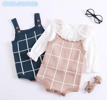 Baby Strikkede Romper Cotton Woolen Baby Girls Gutter Klær Nyfødt Spedbarn Jumpsuit Plaid Ermeløs Småbarn Overalls Outfits