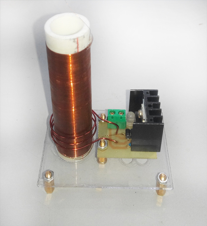 Mini Tesla coil with 9V power supply tesla coil with single self excited glow tube and power supply