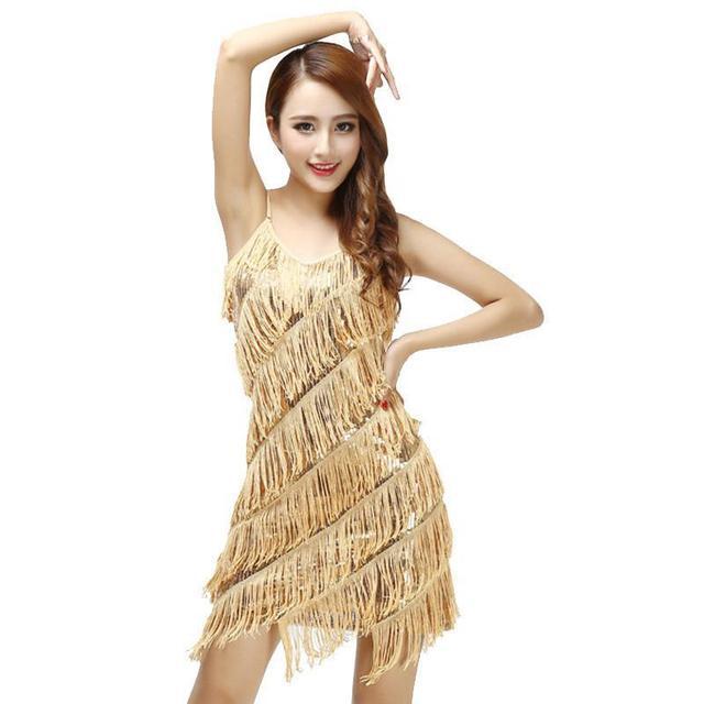 0dd654810f4 Mulher Vestido De Festa Melindrosa Franja Sequin Do Ouro Do Vintage Vestido  de Festa Plus Size