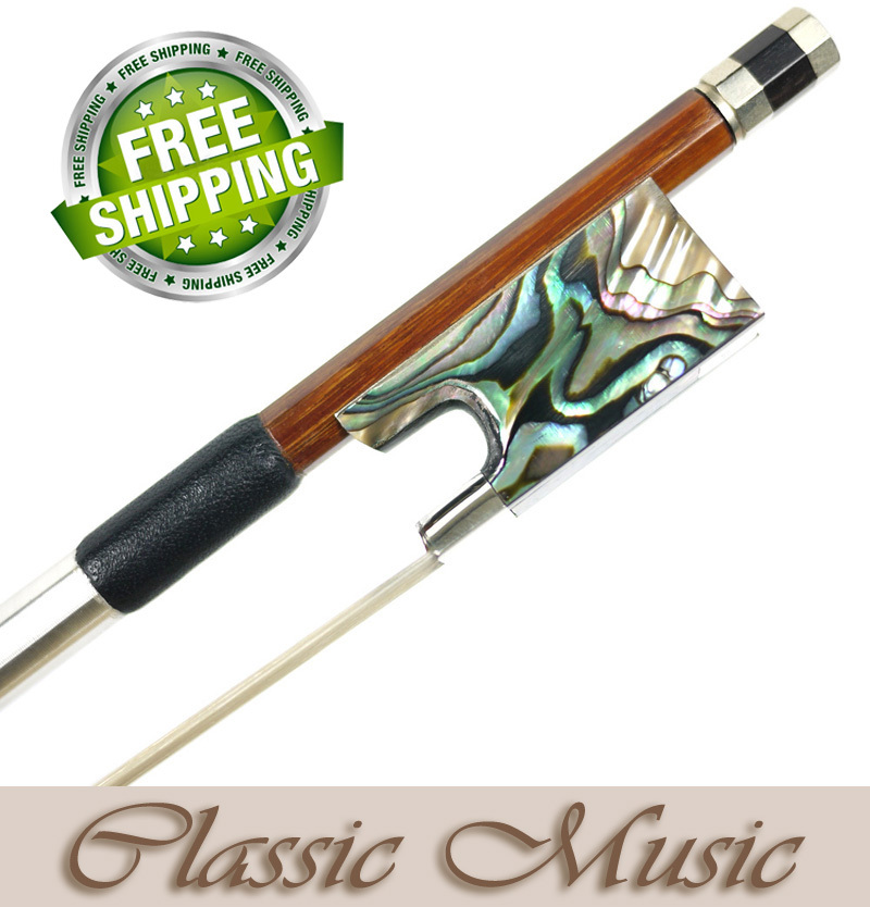 Silver Permanbuco Violin Bow with Abalone Shell frog (4/4), Good Mongolian Horse Hair Hot Sell! 1 4 size 812vb pernambuco violin bow high density ebony frog with nickel silver good quality hair straight violin accessories