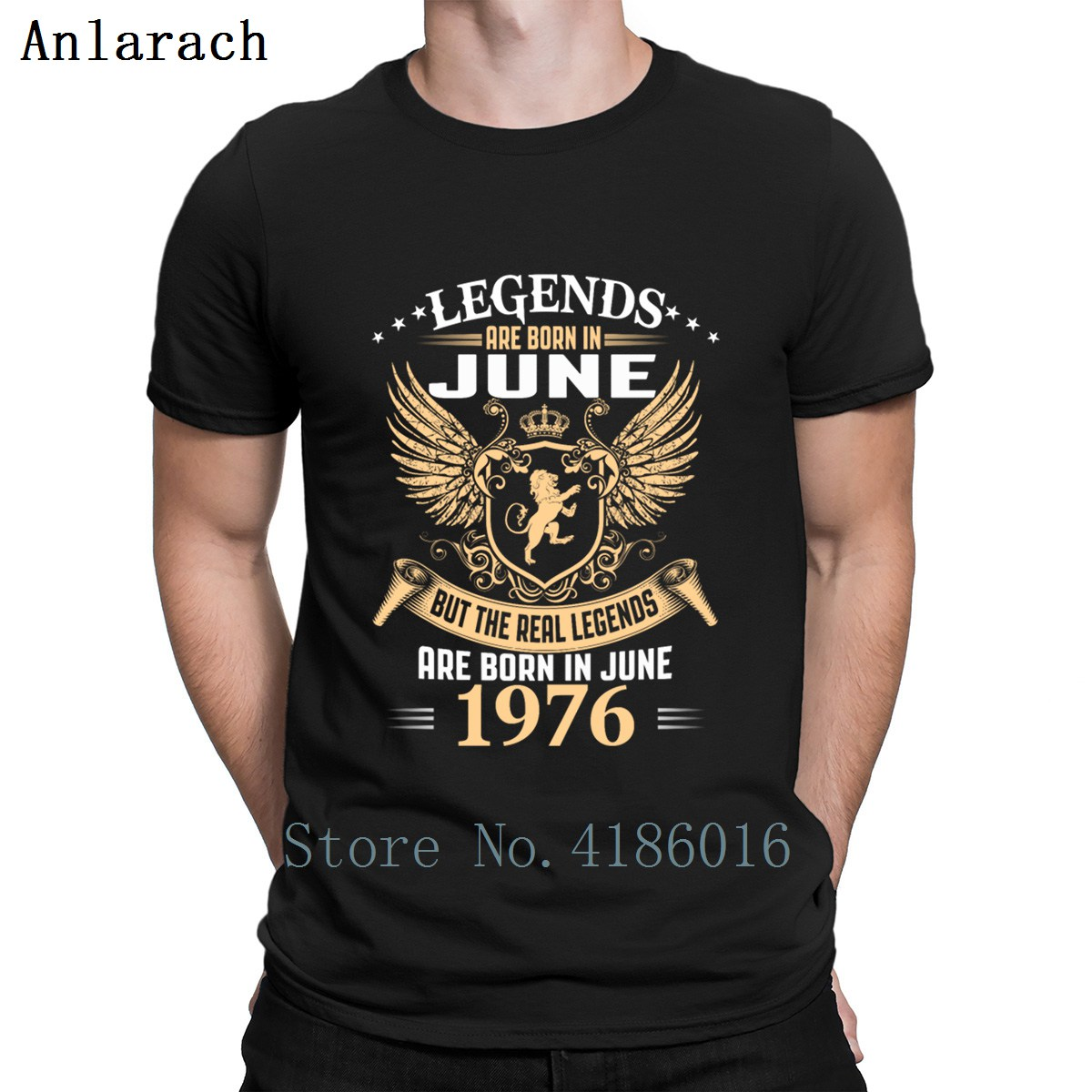 Kings Legends Are Born In June 1976 T Shirt Character Comical Pop Top Tee Black Shirt Sunlight Custom Shirt Anti-Wrinkle
