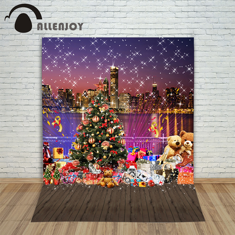 цены New Christmas backgrounds for christmas photo studio Wooden tree gift with snowflakes kid photocall 10x10ft photography backdrop