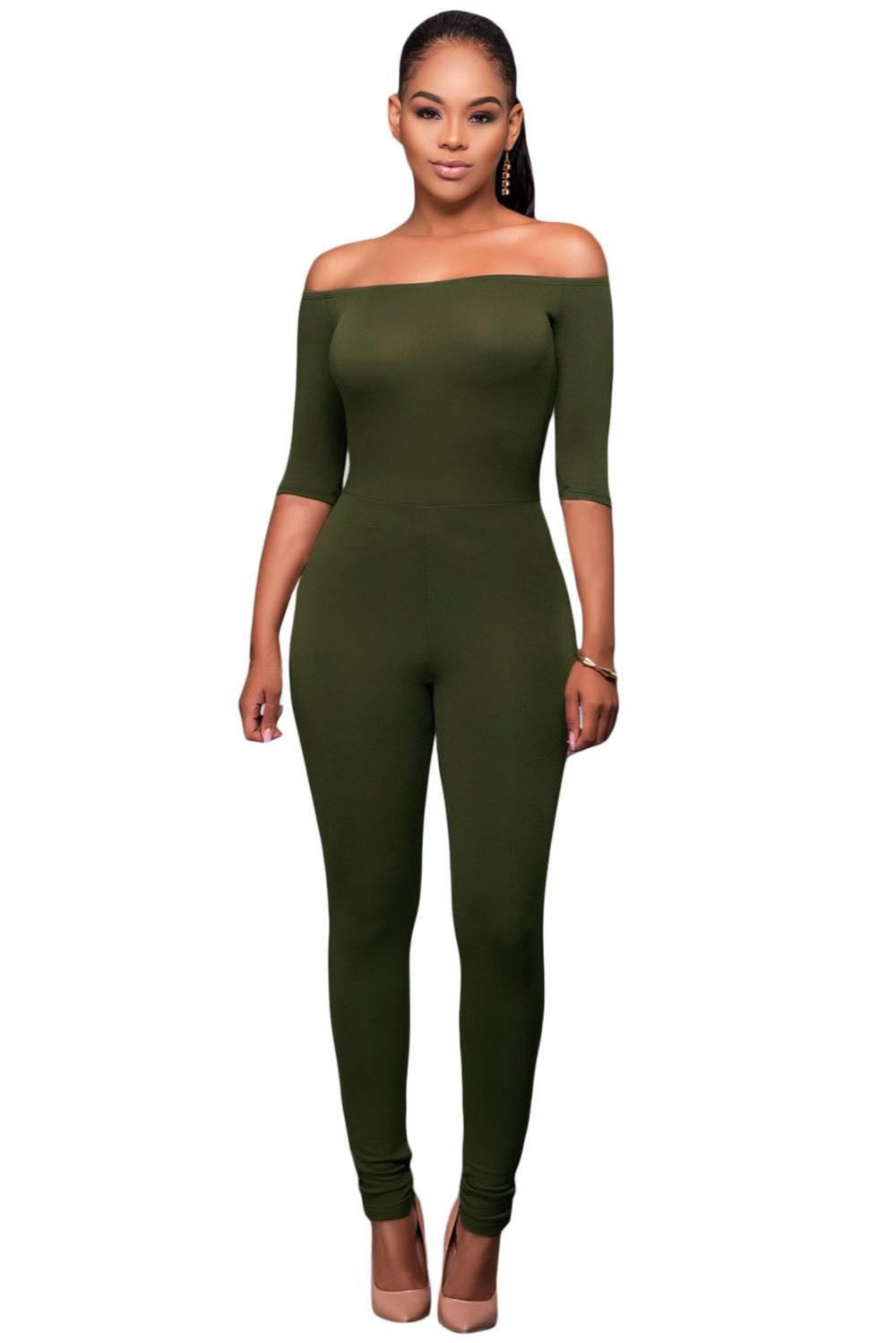 Olive-Green-Bardot-Neckline-Fashion-Jumpsuit-LC64193-9-1