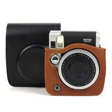 レトロ黒茶色の pu レザーカメラバッグケースカバーフジフイルムインスタックスミニ 90 Mini90 と shoudler ストラップバックパックポケット