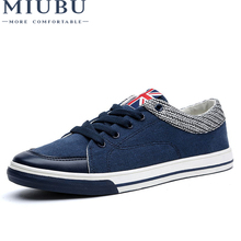 MIUBU Spring Canvas Shoes For Men Lace-up Brand Fashion Flat Shoesleisure Students Are Comfortable Good Quality