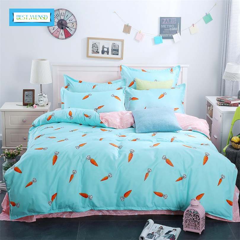 BEST.WENSD Family Kids Bed Linens 100%Cotton High Quality The countryside Cartoon Style Bedding Set For 1or2 Person Duvet Cover