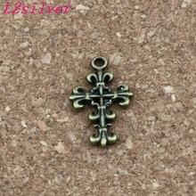 Antique bronze Filigree Flower Cross Charm Pendants 200Pcs/ lots 14x23 mm Alloy jewelry DIY Fit Bracelets Necklace Earrings hollowed filigree butterfly necklace and earrings
