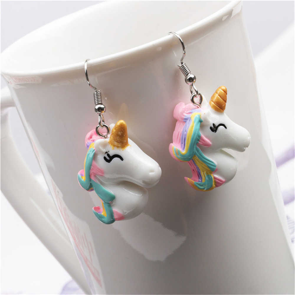 Resin Cute Colorful Unicorn Earrings Unique Dangle Earrings Women's Fashion Personality Birthday Gifts for Lover Funny Jewelry