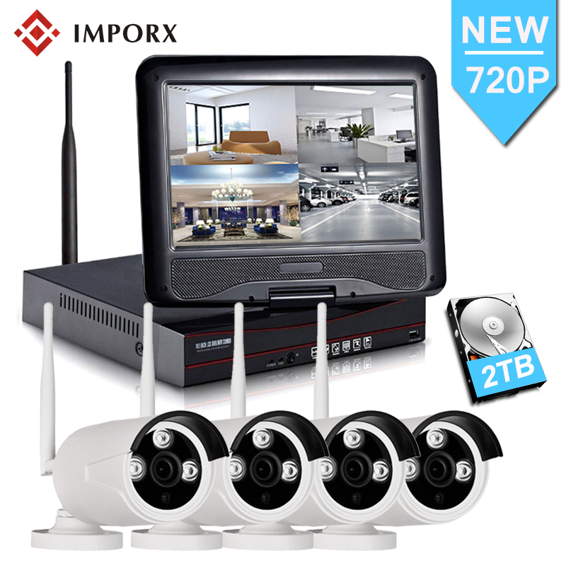 "4CH 720P Wireless NVR Kit Wifi CCTV System 10"" LCD Monitor Screen 1.0MP Outdoor Security Wifi IP Camera Video Surveillance Kit"