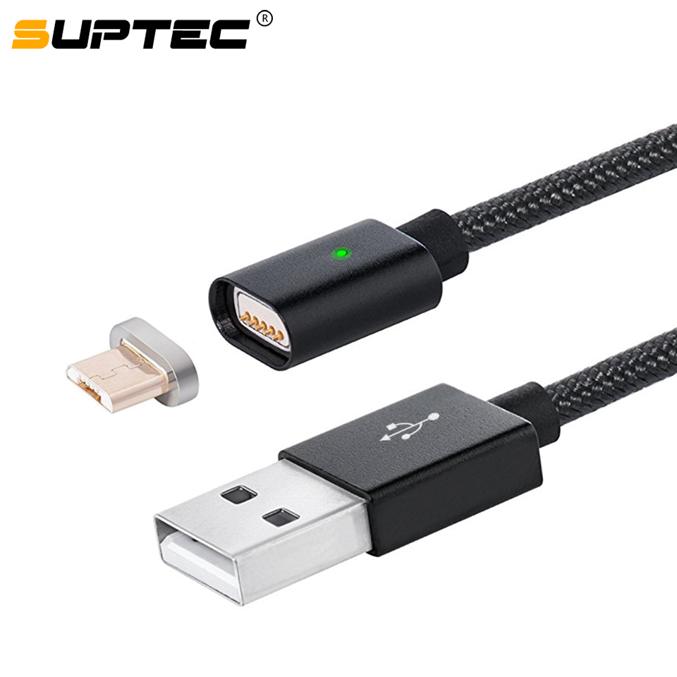 SUPTEC Micro USB Magnetic Cable for Samsung Xiaomi Huawei Nylon Braided Data Sync Magnet Charger Adapter Fast Charging Cable