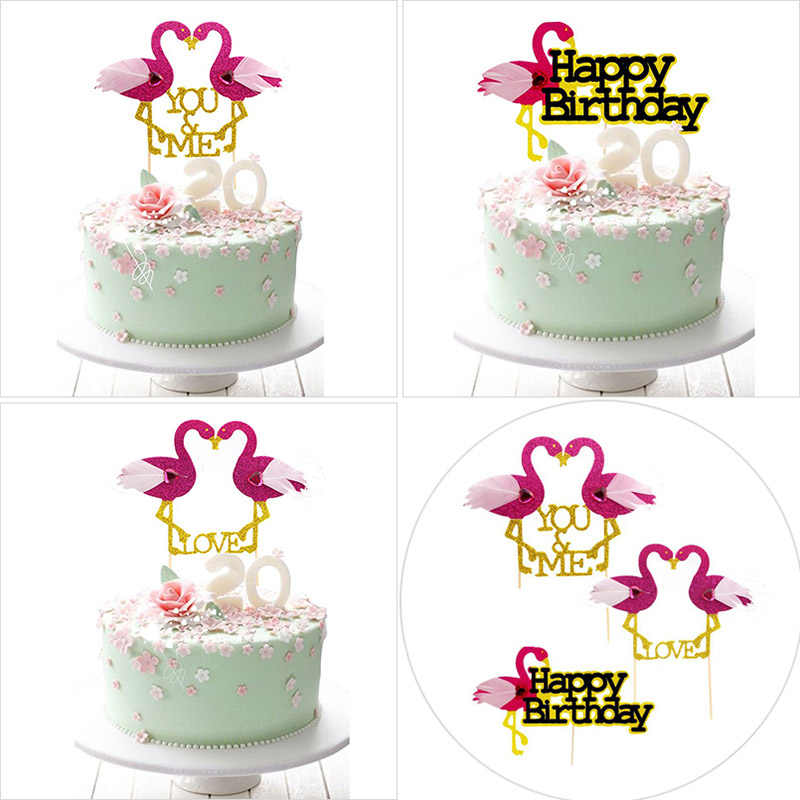 Lovely Diamond Flamingos Cake Topper Happy Birthday Insert Pink Love Toppers For Decoration