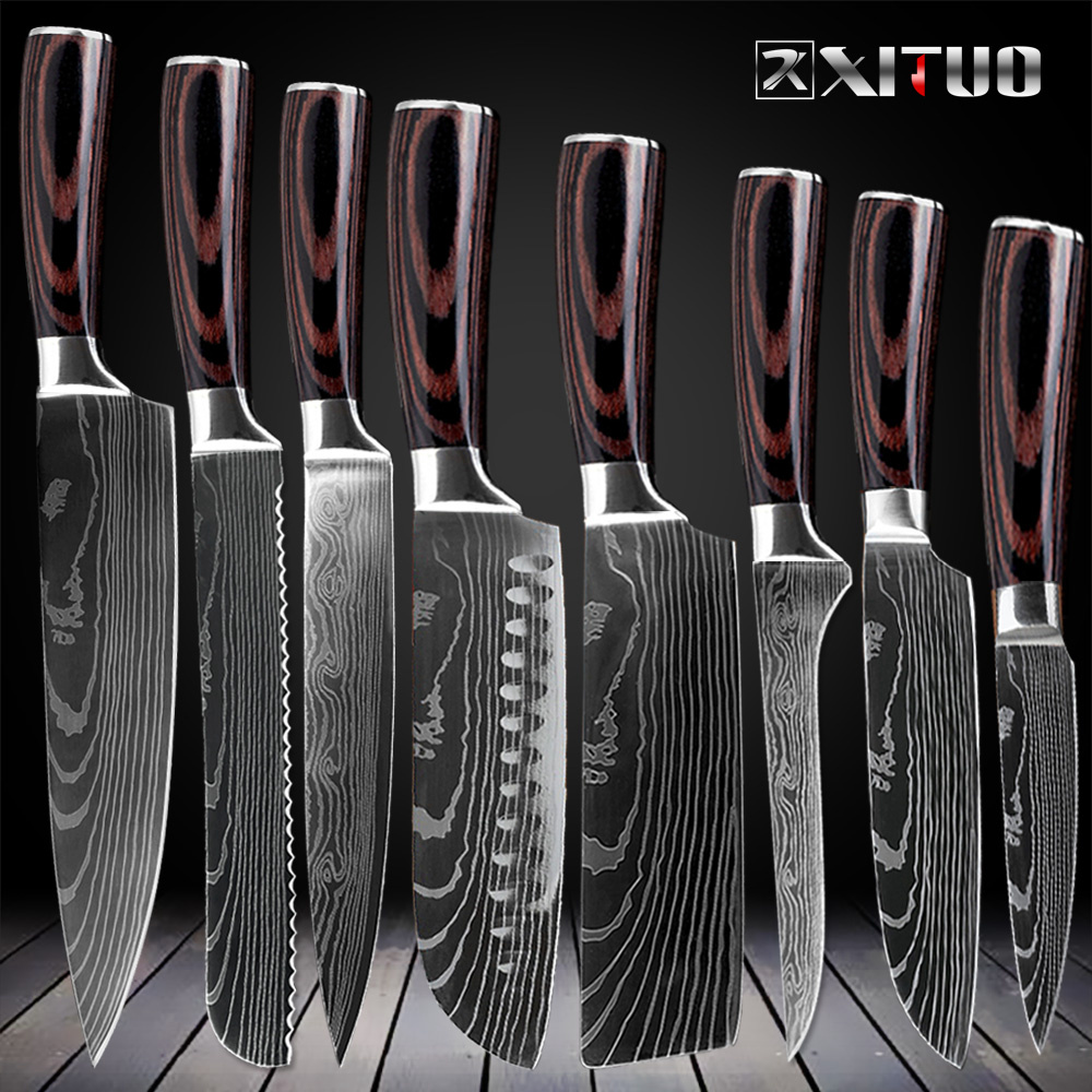 XITUO Kitchen Chef Knives Set 8 inch Japanese 7CR17 440C High Carbon Stainless Steel Damascus Laser Pattern Slicing Santoku Tool(China)