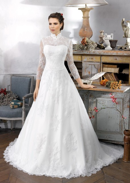 Us 230 0 W369 Wedding Gown 2016 Classic High Neck Collar Long Sleeve Lace Muslim Wedding Dress With Long Train In Wedding Dresses From Weddings