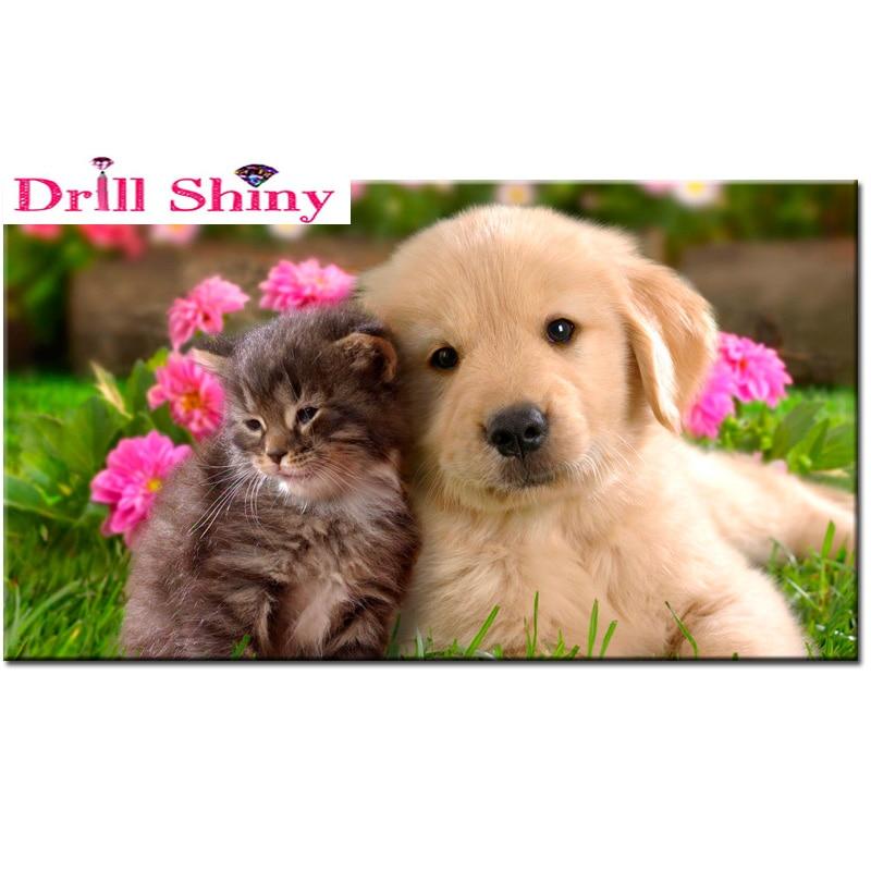 Diy Diamond painting cross stitch animal crystal square diamond sets unfinish decorative full diamond embroidery dog and cat