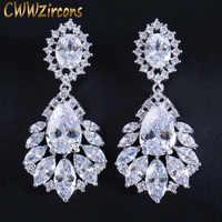 CWWZircons Elegant Chandelier AAA+ Cubic Zirconia Long Big Crystal Bridal Dangle Drop Earring for Wedding Jewelry CZ202