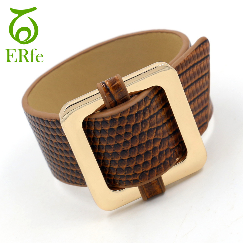 ER Punk Rock Wide Leather Bracelet Women PU Cuff Bangle Snakeskin Braslet Female Designed Bondage BDSM Wrist Band WB010