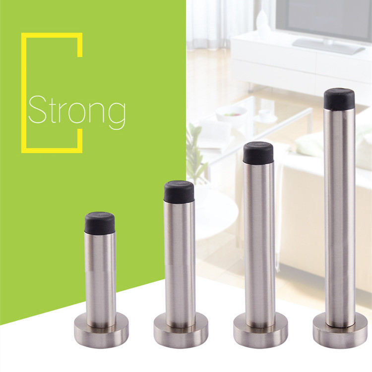 Stainless steel Sliver Wall Mounted Door Stop Stopper Rubber Holder Catch Floor Fitting With Screws For Bedroom Family Home in Door Stops from Home Improvement