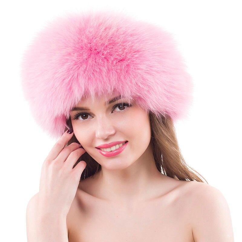 Real Fox Fur Hat Women's Mongolian Winter Outdoor Hats Genuine Fox Fur Hats Female Warm Beanies