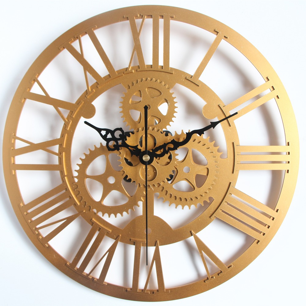 handmade oversized 3d wall clock retro rustic large on the wall real 3d vintage decorative art. Black Bedroom Furniture Sets. Home Design Ideas