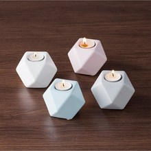 Nordic Ceramic Candle Holder Creative Retro Ins Decoration Home Explosion Geometry Small Candlestick