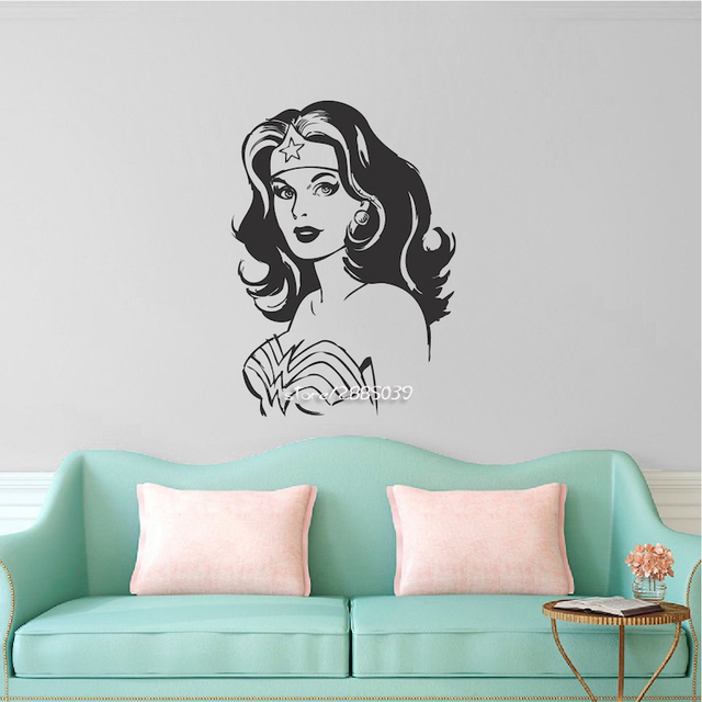 wonder woman wall stickers art new design home decor vinyl removable house decoration cartoon sexy girl - Woman Home Decorating