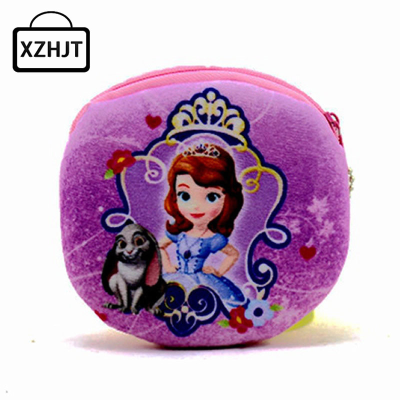 XZHJT New 2016 Kawaii Cartoon Sofia The First Children Plush Coin Purse Zipper Change Purse Wallet Kids Girl Women For Gift