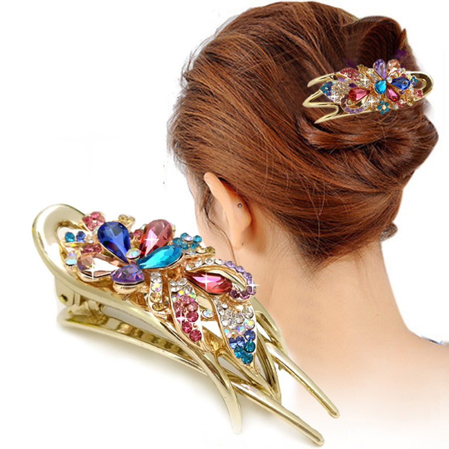 Haimeikang Hair Clip For Women Elegant Crystal Rhinestone Flower Hairpins Duckbill Clips Headband Colorful Bow Floral Headwear