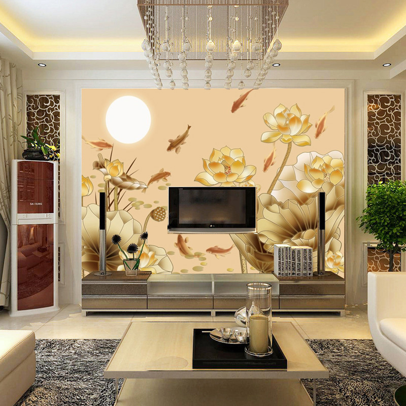 Custom non-woven wall paper large murals Lotus Chinese fish living room TV sofa study 3d stereoscopic wallpaper room fabric free shipping borges suspended large scale non woven paper art wallpaper murals custom size