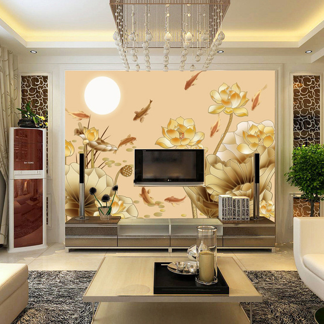 Custom Non Woven Wall Paper Large Murals Lotus Chinese Fish Living Room Tv Sofa Study