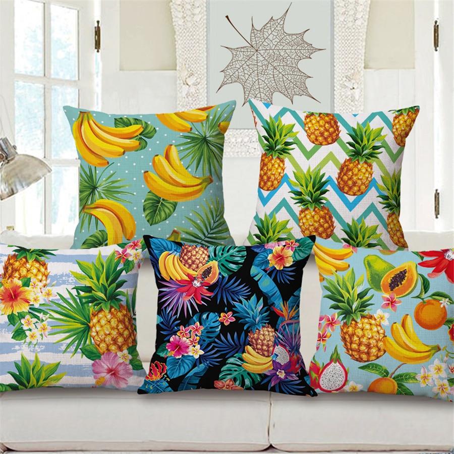 Tropical Fruit Pineapple Cushion Cover Home Decor Vintage Modern For Bed Chair Sofa Throw Pillow Case 45x45cm Cotton Linen e1389