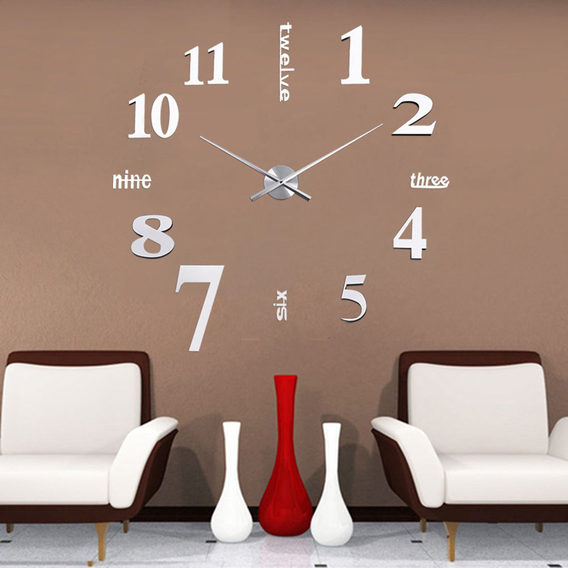 fashion large wall clock 3d mirror sticker big watch home decor unique gift diy vb120 t0