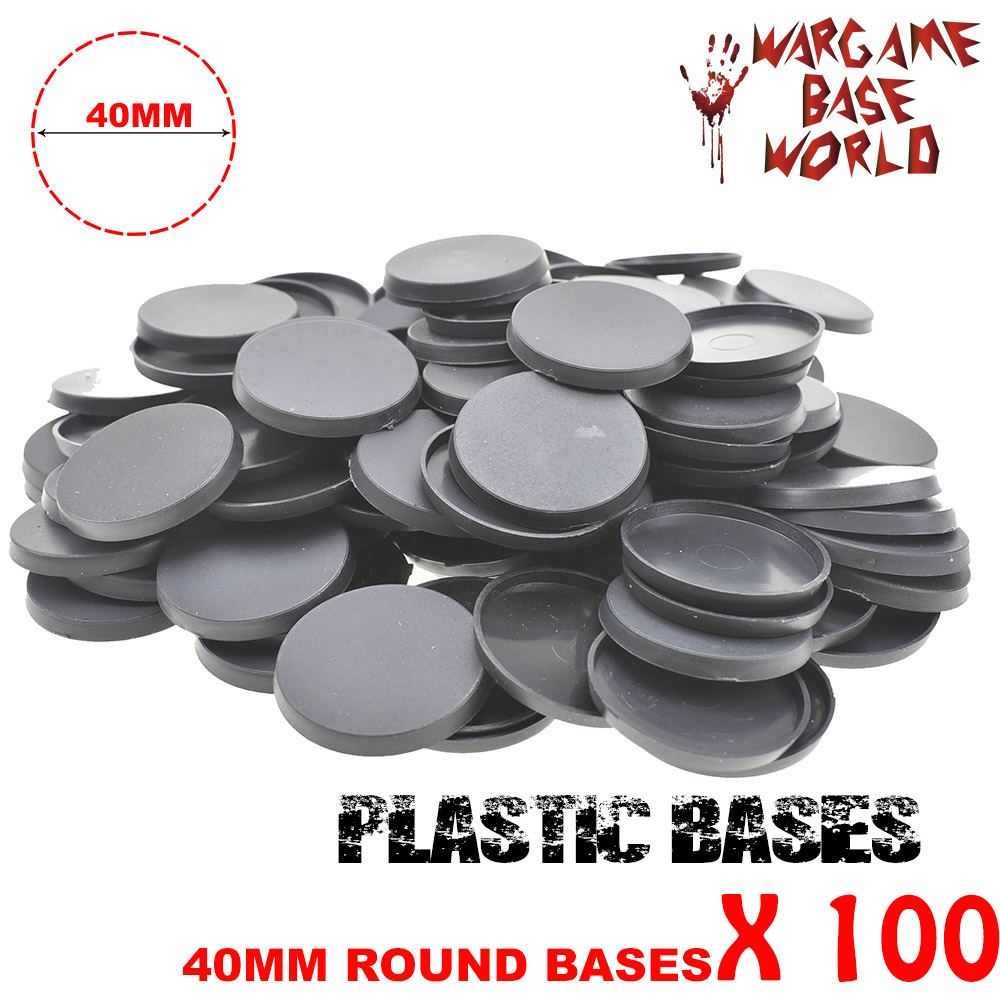 100 Pcs 40mm Round Plastic Bases For Miniatures