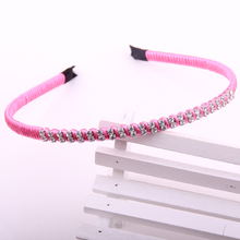 High quolity crystal hairbands korean rainbow spun polyester threads wrapped with double line imitation diamond 12pcs