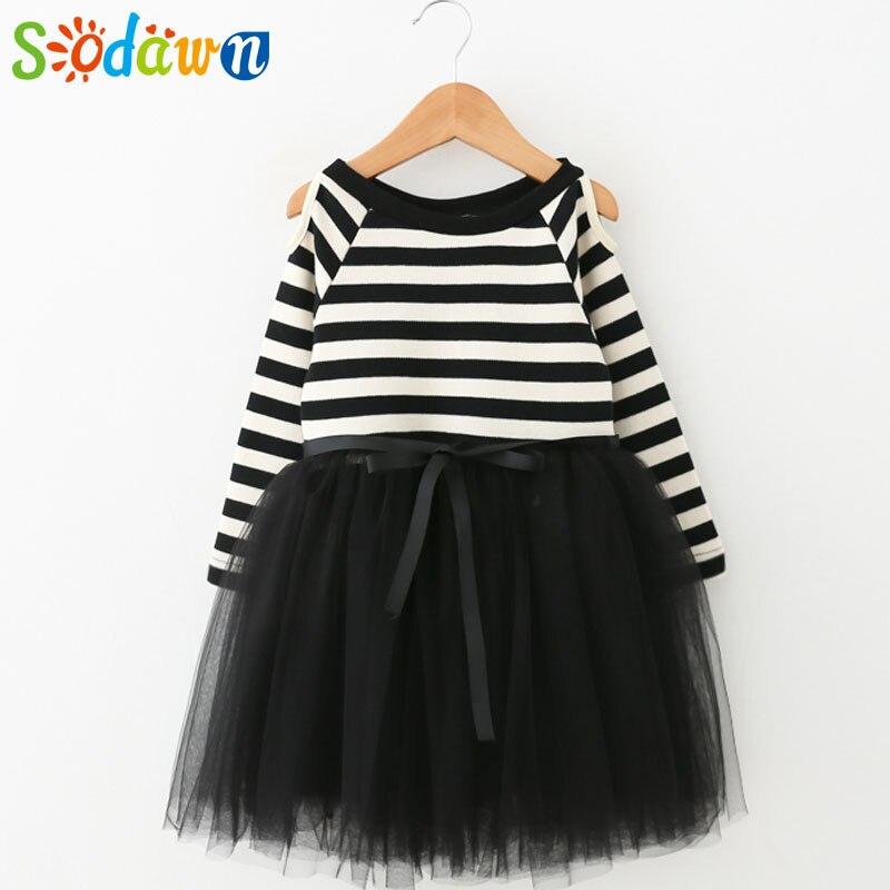 Sodawn Autumn New Girls Dress Strapless Long Sleeves Striped Wool Stitching Net Yarn Dress Girls Clothes Baby Princess Dress