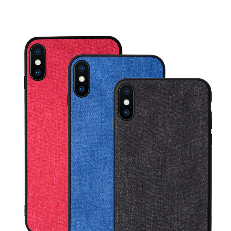 For iPhone X XS XR MAX Cloth Texture Pattern Soft TPU Silicone Cover and soft Anti-knock Coverfor