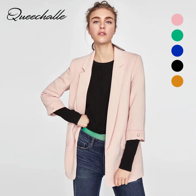 Queechalle Spring Autumn Casual Women's Blazer Candy Color Cardigan Notched Collar Fashion Ladies Jacket Coat Blazer Feminino