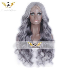 7A Brazilian Ombre GrayBody Wave Front Lace Wigs With Bay Hair Glueless Gray Ombre Human Hair Full Lace Wigs