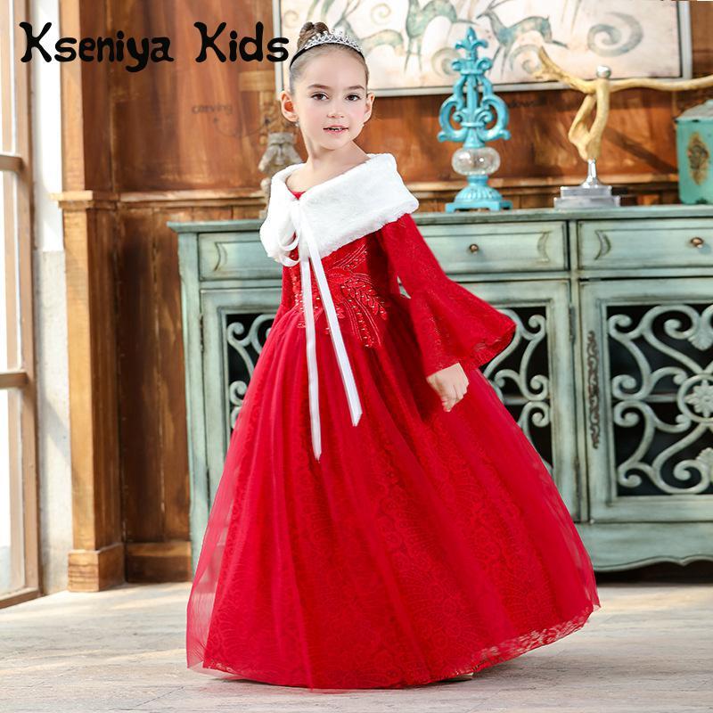 Kseniya Kids 2018 Spring Summer New Children's Clothing Chinese Style Lace Mesh Long Sleeve Big Girl Dress Girl Party Dress