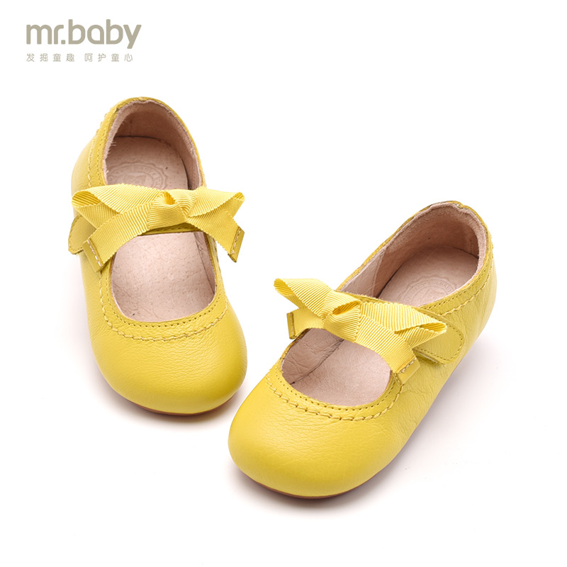 mr.baby Baby shoes women 2018 spring new non-slip leather shoes butterfly girls princess shoes