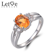 Leige Jewelry Female Rings Natural Citrine Wedding Rings Oval Cut Yellow Gems Ring 925 Sterling Silver Romantic Wedding Gifts